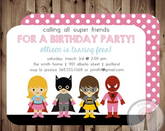 SUPER GIRL Birthday Invitation, birthday invite, superhereos, girl superhero, birthday party,printable birthday invite