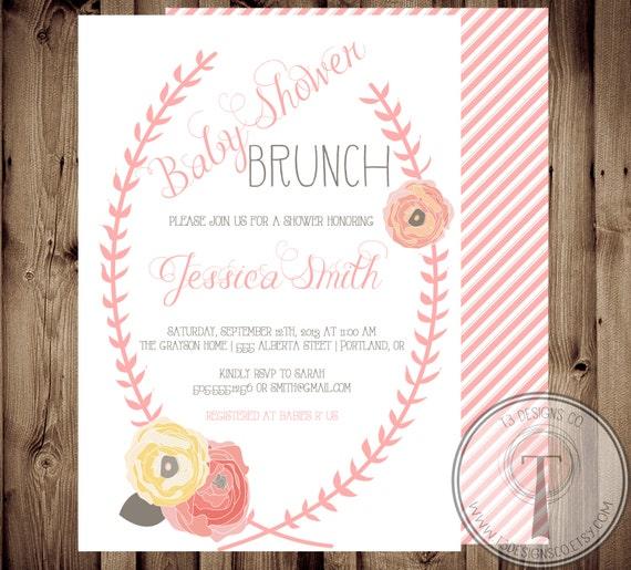 baby shower invitation baby girl floral shabby chic baby, Baby shower invitations