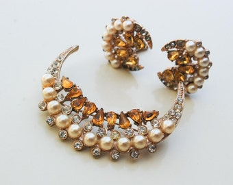 Vintage 1930s Crescent Moon Faux Pearl and Rhinestone Earring Brooch Set