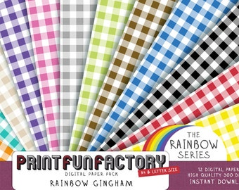 Gingham digital paper - Rainbow gingham backgrounds - 12 digital papers (#049) INSTANT DOWNLOAD