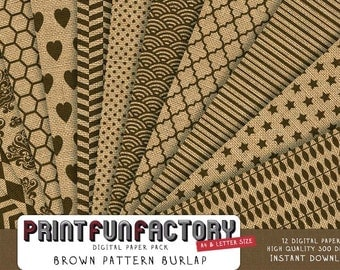 Burlap digital paper - brown burlap digital patterns on realistic burlap background - 12 digital papers (#090) INSTANT DOWNLOAD