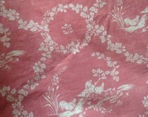 Pierre Deux French Country Provence Chic Rooster Toile Pattern Houdan Pink