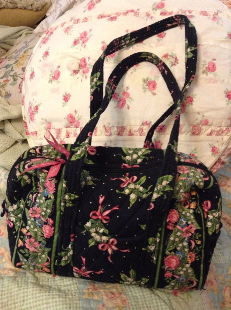 Vera Bradley Small Duffle Handbag Pattern Black Hope