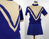 Vintage Blue and White Cheerleading Uniform - Pull Over Sweater and Skirt - Size Small - Costume