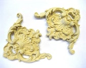 Antique Architectural Victorian Corners (2) Furniture Applique - Wood & Resin - Trims and Appliques - Flexible - Stainable - Paintable
