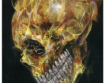 "Skull Art Print - Skull Wall Art - Art Poster Print of Original Painting - Mixed Media Art - ""Glitter and Gold"" by Black Ink Art"