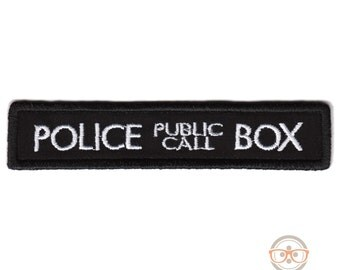 Doctor Who Patch - TARDIS Police Box - Embroidered Iron on Patch
