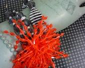 ORANGE POMPOM  Anthropologie inspired assemblage bracelet