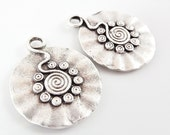 Tribal Spiral Wavy Disc Pendants - Matte Silver Plated - 2PC