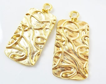 2 Organic Rectangle Pendants with Drizzle Scribble Detail - 22k Matte Gold Plated