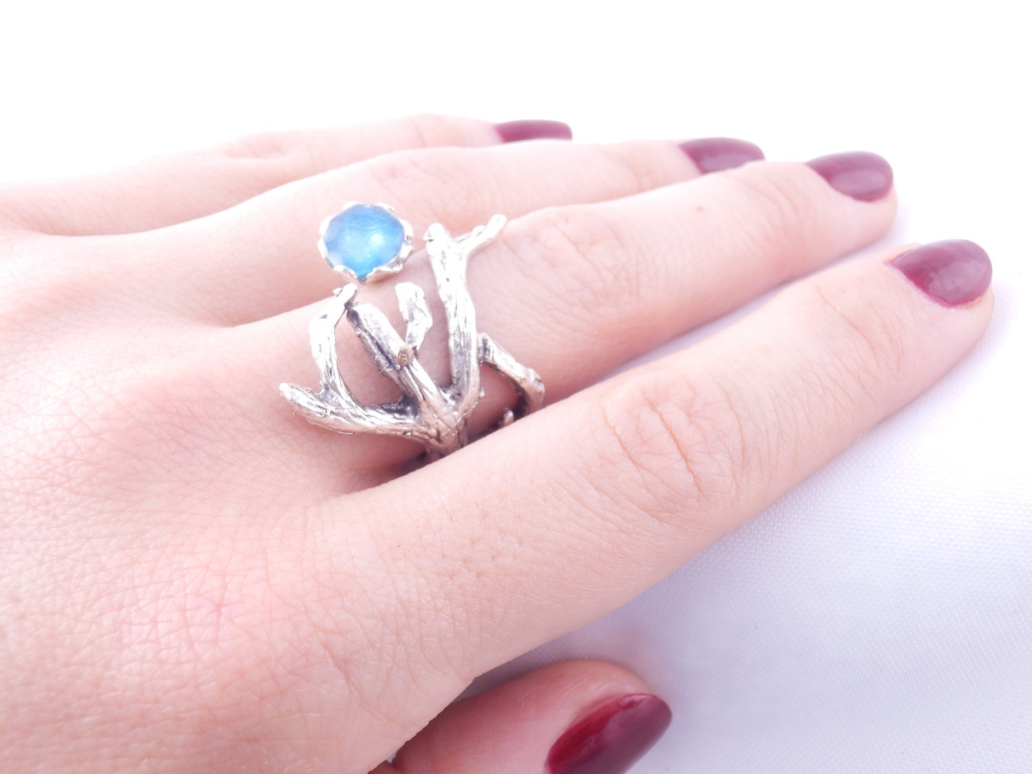 blue twig ring silver branch ring silver tree ring blue wood