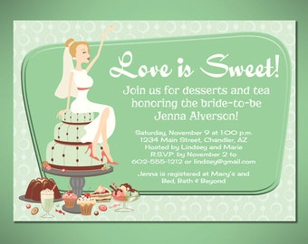 Retro Dessert Bridal Shower or Engagement Party Invitation Cards - Customized to Your Event