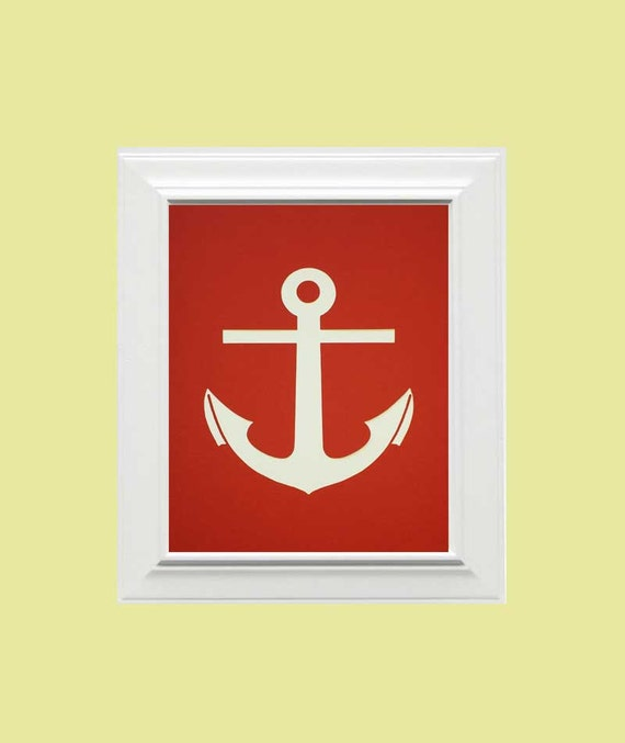 Custom Personalized Anchor/Nautical Picture, Children's Wall Art, Kid's Wall Art, Nursery Wall Art, Anchor Wall Art, Nautical-Red, White