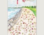 SALE!! Lighthouse Thumbprint Guestbook, Wedding Thumbprint Guestbook, Alternative Guestbook, Bridal Shower Guestbook, Wedding Gift Idea