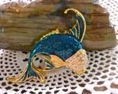 Vintage Blue Green Enamel Fish Brooch Pin with Rhinestones
