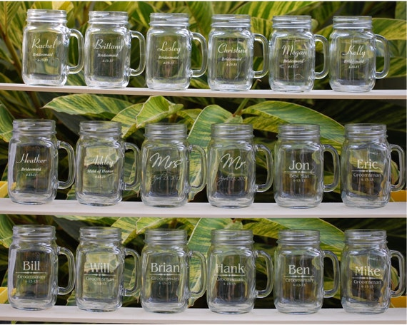 Wedding Party Gifts Groomsmen : 17 Wedding Party GiftsWedding Party FavorsPersonalized Mason Jar ...