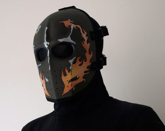 Army of Two v1 Style Airsoft Mask Flames (OD) - Made to order -