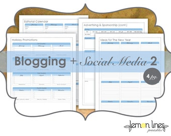 Blogging & Social Media Printable Pack Part 2 - INSTANT DOWNLOAD