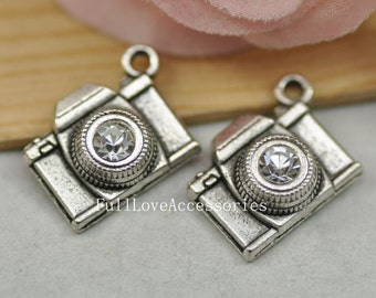 10pcs Antique Silver Camera Charms Pendant 15x20mm Antique Silver Camera Charms Connector with Rhinestone