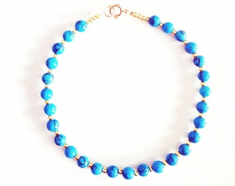 Tiny Turquoise and Gold/Silver Semi Precious Bracelet //handmade //gifts for her
