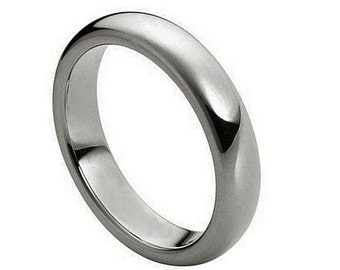 Personalized Tungsten Carbide Polished Shiny Domed Ring 4mm - Free Engraving