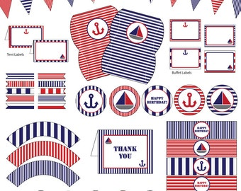 nautical birthday party blue and red 10 printable pdf files instant download - Nautical Party Decorations
