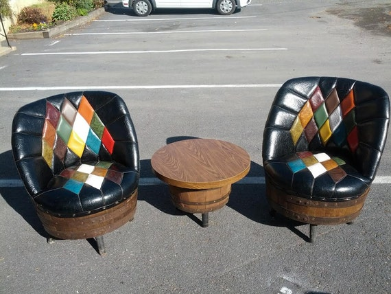 Whiskey Barrel Chairs Pair Mid Century Man Cave