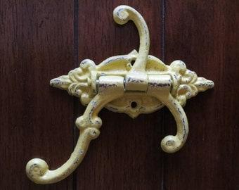 Wall hook / French cottage style /Lemon Yellow/ Mud room /Towel hook/ Bath hook/ 3 hook swivel/ Swing hook/Cast iron hook/Shabby chic hook