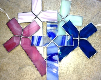 Simple Stained Glass Religious Cross Sun catcher in any color