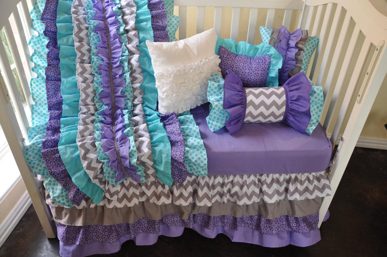 Purple And Teal Chevron Crib Bedding