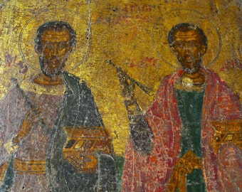 Authentic 17th Centuy religious icon Damian and Cosmos