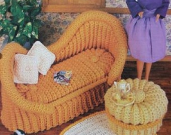 Crochet Barbie Fashion Doll Pattern FRENCH SETTEE ~ Loveseat, Footstool & Rug
