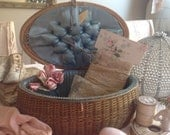 Beautiful antique shabby chic wicker sewing basket