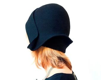 Black felt cloche vintage style handmade hat, gatsby style women hat Winter hat