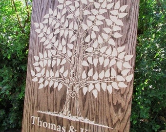 Wooden Guest Book Oak Tree - 125, 150 signatures