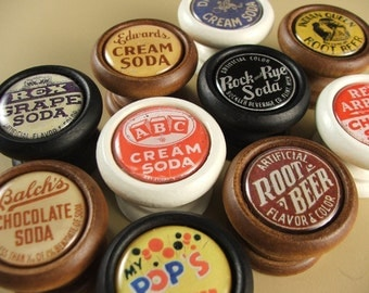 Pop Bottle Cap Decorative Wood Knobs, Pulls ...Price is for 1 Knob (Quantity Discounts Available!)
