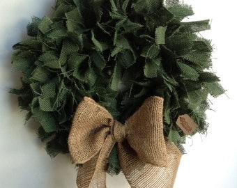 Christmas Wreath, Burlap Wreath, Green burlap Wreath, Holiday Wreath, Rustic Christmas Wreath