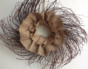 Summer Wreath, Grapevine Wreath, Spring Wreath,  Wreath, Twig Wreath, Primitive Wreath, Rustic Wreath, Burlap Whispy Wreath