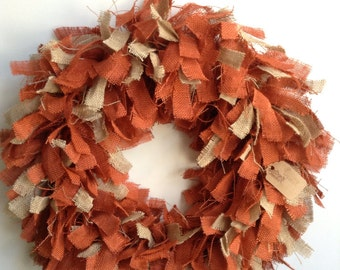 "24"", Burlap Fall Wreath, Burlap Wreath, Fall Wreath, Halloween Wreath, Orange Wreath, Autumn Wreath, Two Toned Wreath, Thanksgiving Wreath"