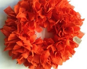 "17"", Fall Burlap Wreath, Fall Wreath, Autumn Wreath, Thanksgiving Wreath, Halloween Wreath, Orange Wreath, Orange Burlap Wreath"