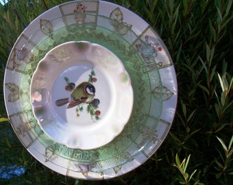 Garden Flower Plate, Vintage China Chickadee, Repurposed China Perennial Plate Garden Yard Plate  Flower