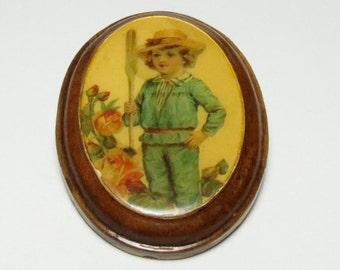Wood Decoupage brooch boy brooch