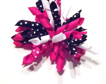 Pink and Black Polka Dot Korker Bow