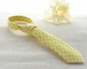 Tie for Boys Yellow gingham tie,  NeckTie, little man tie, little boy tie, baby tie, holiday tie, gifts for kids