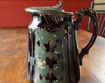 Antique Art Nouveau 1910 Black Gilded Ceramic Jug, Pewter Lid, Lidded Vintage Jug, Antique Pitcher
