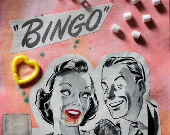 "Retro ""Bingo!"" pink watercolor collage"