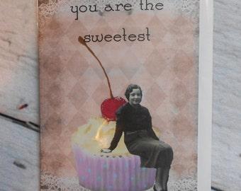 Sweetest 5 x 7 handmade handglittered greeting card