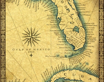 """Florida Map Art Print c .1865 11"""" x 14""""+, Hand Drawn Old Florida Map With Cuba, Miami South Beach and the Florida Keys to Key West Map"""