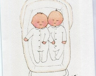 No 33.  - Twin baby card- Twins in their pram.