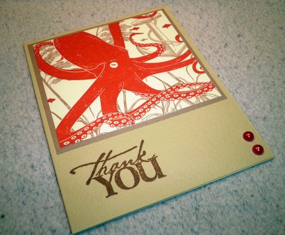 Upcycled Letter Press Hand Stamped Thank You Note Card - Pale Green and Grey/Gray with Orange/Red Octopus, Ocean, Marine